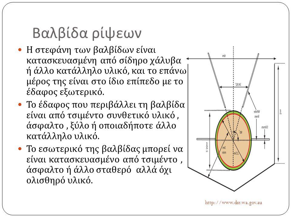 Βαλβίδα ρίψεων  Η στεφάνη των βαλβίδων είναι κατασκευασμένη από σίδηρο χάλυβα ή άλλο κατάλληλο υλικό, και το επάνω μέρος της είναι στο ίδιο επίπεδο μ