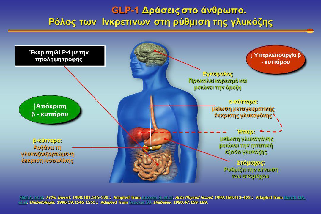 GLP-1 Δράσεις στο άνθρωπο.Ρόλος των Ινκρετινων στη ρύθμιση της γλυκόζης GLP-1 Δράσεις στο άνθρωπο.