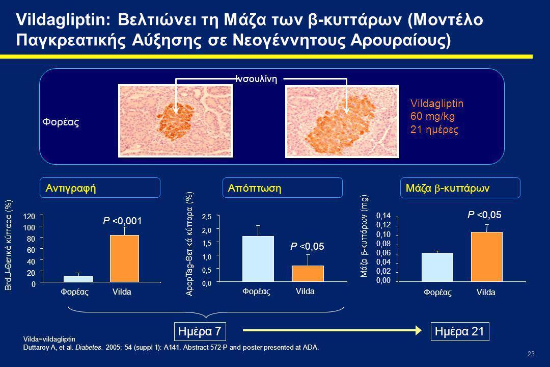 23 Vildagliptin: Βελτιώνει τη Μάζα των β-κυττάρων (Μοντέλο Παγκρεατικής Αύξησης σε Νεογέννητους Αρουραίους) Vilda=vildagliptin Duttaroy A, et al.