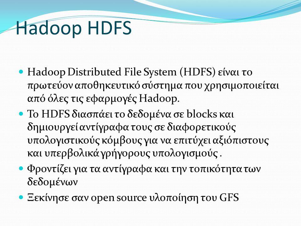Hadoop HDFS  Hadoop Distributed File System (HDFS) είναι το πρωτεύον αποθηκευτικό σύστημα που χρησιμοποιείται από όλες τις εφαρμογές Hadoop.  Το HDF