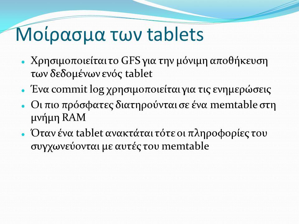 Μοίρασμα των tablets  Χρησιμοποιείται το GFS για την μόνιμη αποθήκευση των δεδομένων ενός tablet  Ένα commit log χρησιμοποιείται για τις ενημερώσεις