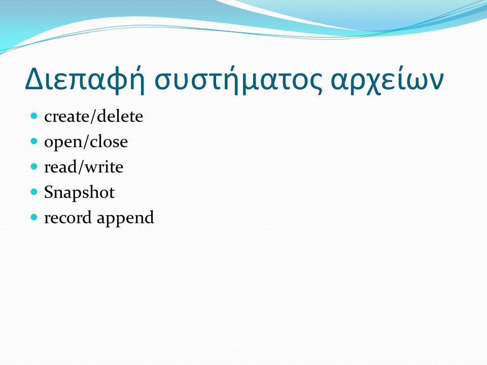 Διεπαφή συστήµατος αρχείων  create/delete  open/close  read/write  Snapshot  record append