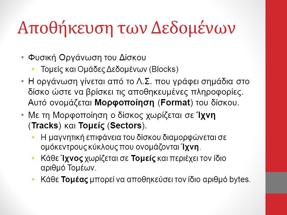 Αποθήκευση των Δεδομένων •Φυσική Οργάνωση του Δίσκου •Τομείς και Ομάδες Δεδομένων (Blocks) •Η οργάνωση γίνεται από το Λ.Σ. που γράφει σημάδια στο δίσκ