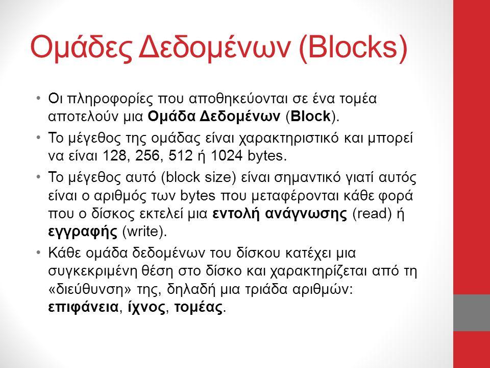 Ομάδες Δεδομένων (Blocks) •Οι πληροφορίες που αποθηκεύονται σε ένα τομέα αποτελούν μια Ομάδα Δεδομένων (Block). •Το μέγεθος της ομάδας είναι χαρακτηρι