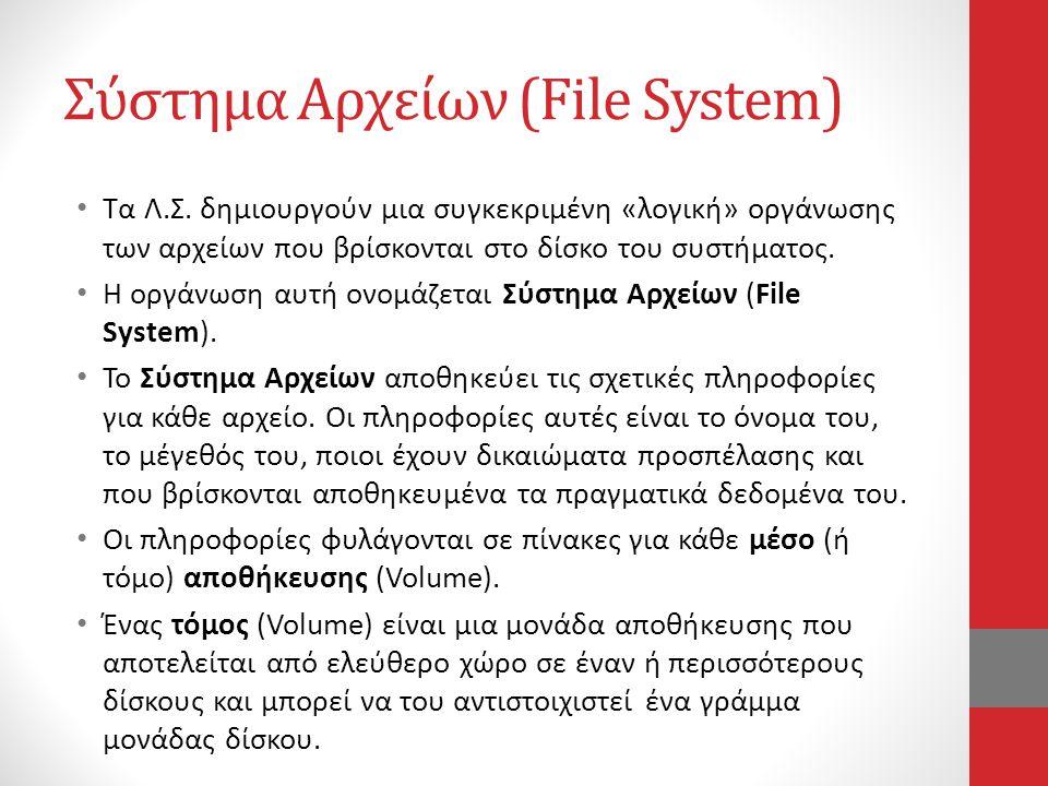 Σύστημα Αρχείων (File System) • Τα Λ.Σ. δημιουργούν μια συγκεκριμένη «λογική» οργάνωσης των αρχείων που βρίσκονται στο δίσκο του συστήματος. • Η οργάν