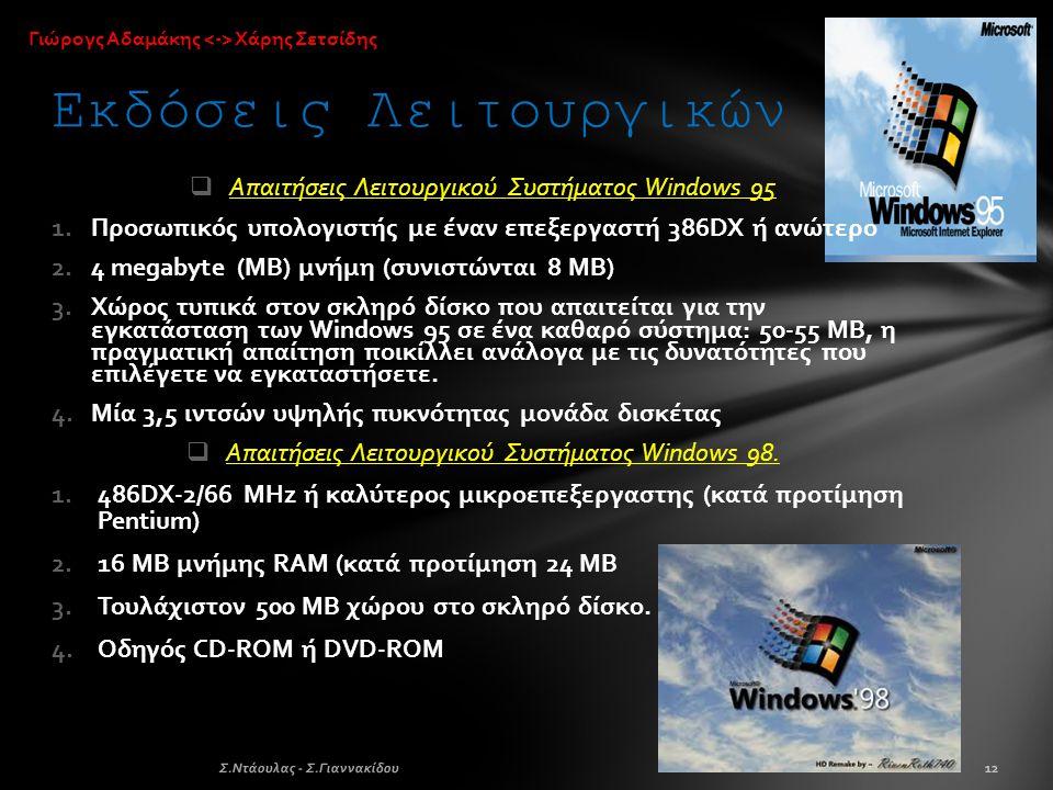  Απαιτήσεις Λειτουργικού Συστήματος Windows 95 1.Προσωπικός υπολογιστής με έναν επεξεργαστή 386DX ή ανώτερο 2.4 megabyte (MB) μνήμη (συνιστώνται 8 MB