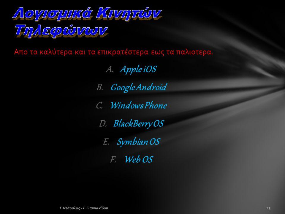 Απο τα καλύτερα και τα επικρατέστερα εως τα παλιοτερα. A.Apple iOS B.Google Android C.Windows Phone D.BlackBerry OS E.Symbian OS F.Web OS 15Σ.Ντάουλας