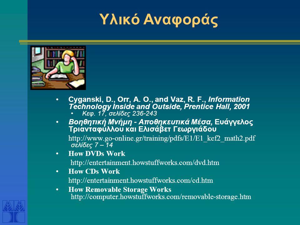 Υλικό Αναφοράς •Cyganski, D., Orr, A. O., and Vaz, R. F., Information Technology Inside and Outside, Prentice Hall, 2001 •Κεφ. 17, σελίδες 236-243 •Βο