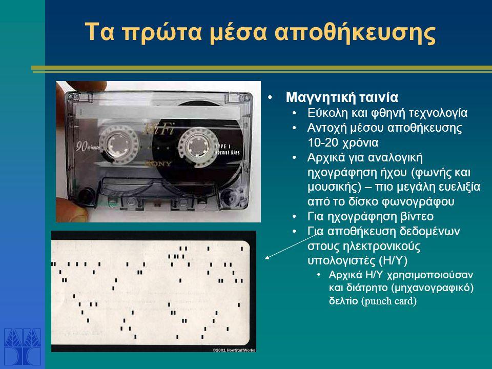 Τα πρώτα μέσα αποθήκευσης •Μαγνητική ταινία •Εύκολη και φθηνή τεχνολογία •Αντοχή μέσου αποθήκευσης 10-20 χρόνια •Αρχικά για αναλογική ηχογράφηση ήχου