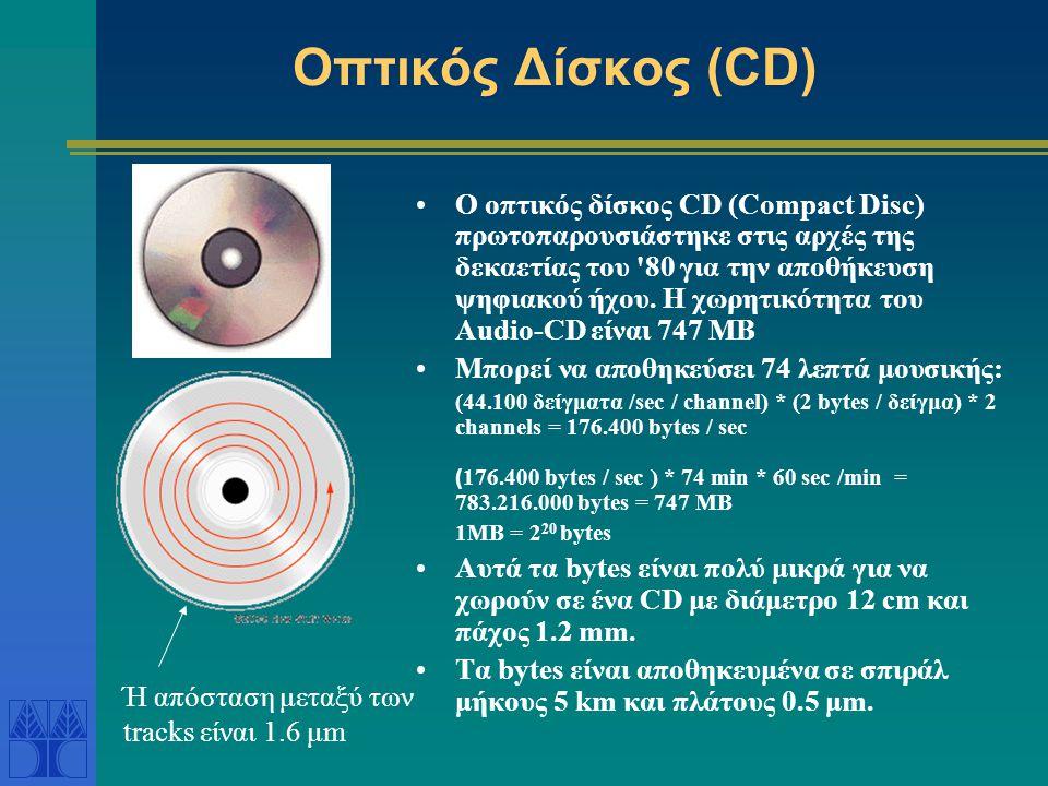 Σύγκριση DVD και CD •Characteristic DVD CD •Disc Diameter120 mm120 mm •Disc Thickness1.2 mm1.2 mm •Laser TechnologyRed Infrared (635/650 nm) (780 nm) •Minimum Pit Size0.40 m0.83 m •Track Spacing0.74 m1.60 m •Layers1, 2, or 41 •Capacity per Layer4.38 GB0.64 GB •Maximum Capacity4.38-15.90 GB0.64 GB 1 GB = 2 30 bytes => 4.38 GB = 4,7 x 10 9 bytes