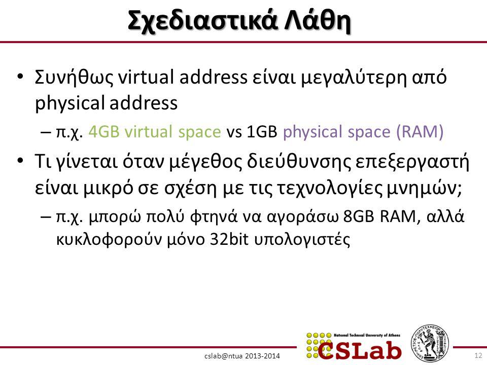 cslab@ntua 2013-2014 Σχεδιαστικά Λάθη • Συνήθως virtual address είναι μεγαλύτερη από physical address – π.χ.