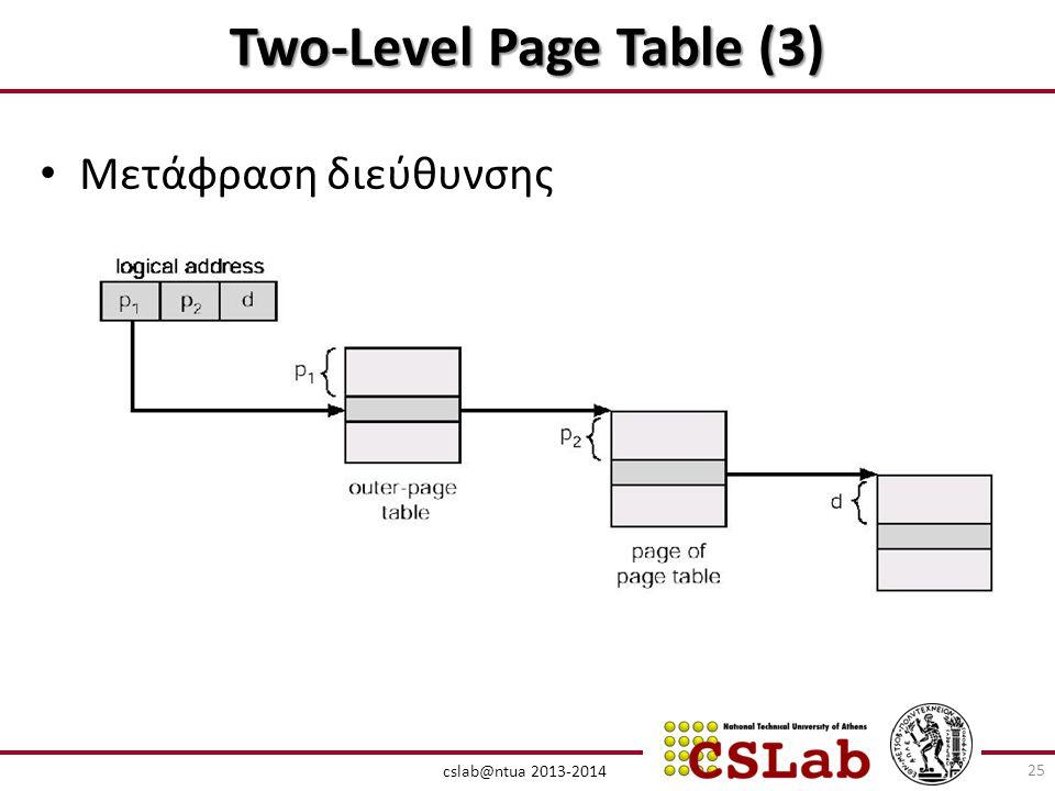 cslab@ntua 2013-2014 Two-Level Page Table (3) • Μετάφραση διεύθυνσης 25
