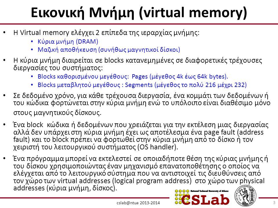 Εικονική Μνήμη (virtual memory) • Η Virtual memory ελέγχει 2 επίπεδα της ιεραρχίας μνήμης: • Κύρια μνήμη (DRAM) • Μαζική αποθήκευση (συνήθως μαγνητικοί δίσκοι) • Η κύρια μνήμη διαιρείται σε blocks κατανεμημένες σε διαφορετικές τρέχουσες διεργασίες του συστήματος: • Βlocks καθορισμένου μεγέθους: Pages (μέγεθος 4k έως 64k bytes).