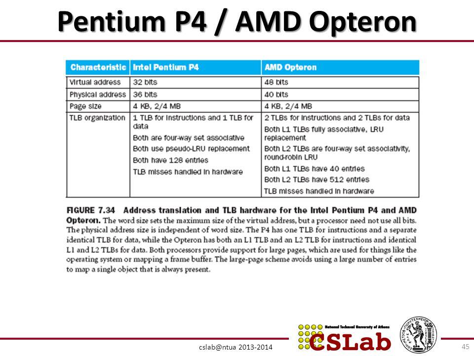 Pentium P4 / AMD Opteron cslab@ntua 2013-2014 45