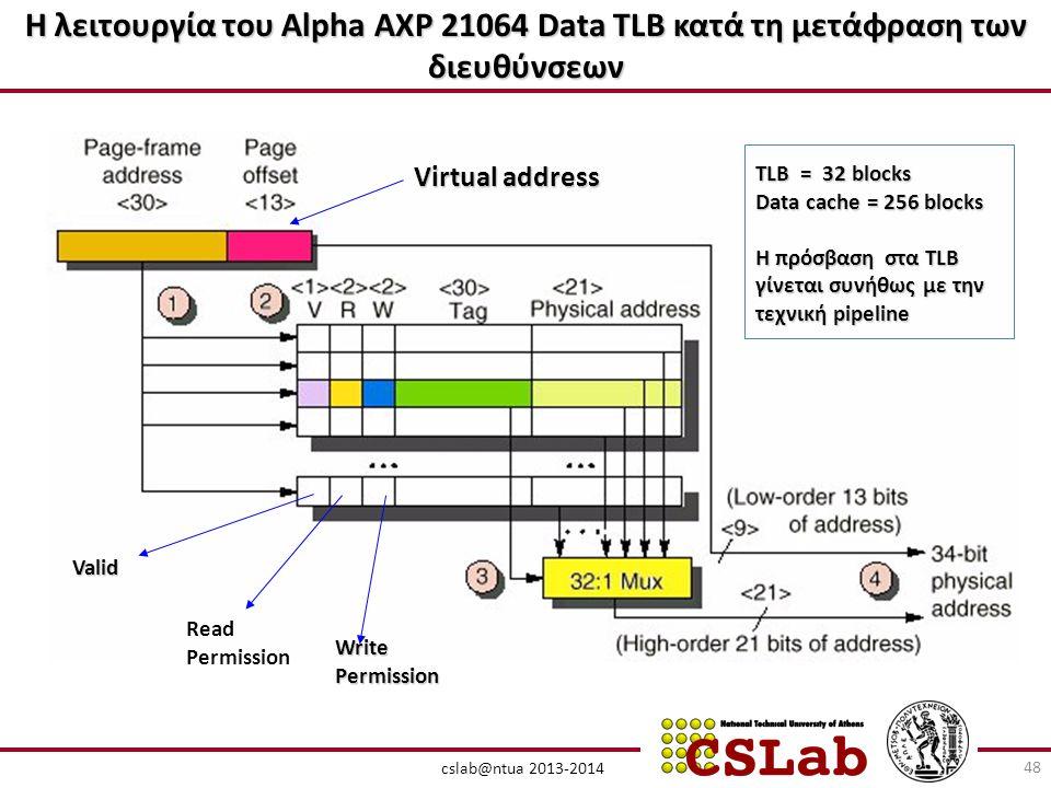 Η λειτουργία του Alpha AXP 21064 Data TLB κατά τη μετάφραση των διευθύνσεων cslab@ntua 2013-2014 Virtual address Valid Read Permission WritePermission TLB = 32 blocks Data cache = 256 blocks Η πρόσβαση στα TLB γίνεται συνήθως με την τεχνική pipeline 48