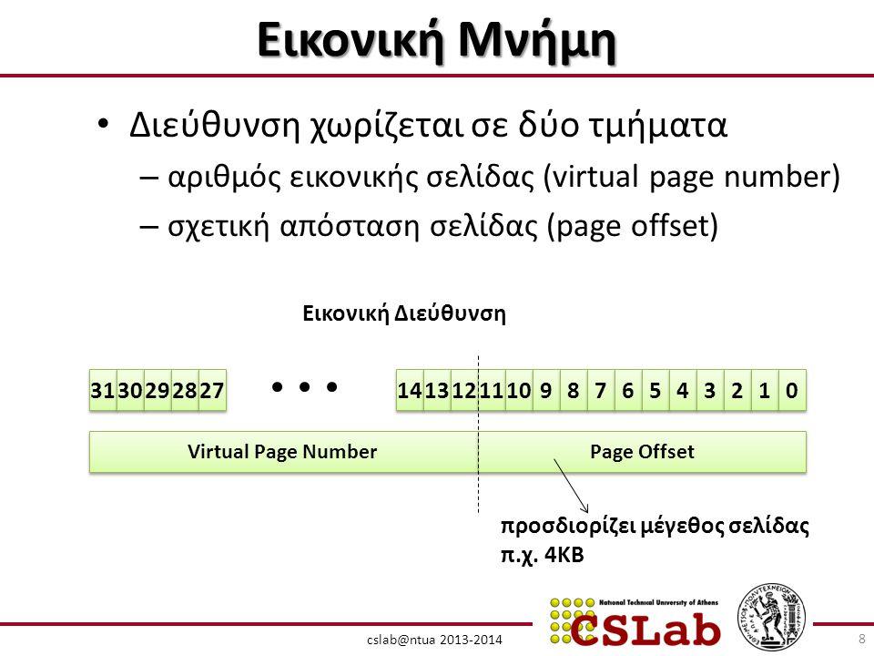 cslab@ntua 2013-2014 Εικονική Μνήμη • Διεύθυνση χωρίζεται σε δύο τμήματα – αριθμός εικονικής σελίδας (virtual page number) – σχετική απόσταση σελίδας (page offset) Virtual Page Number Page Offset 31 30 29 28 27 14 13 12 11 10 9 9 8 8 7 7 6 6 5 5 4 4 3 3 2 2 1 1 0 0 Εικονική Διεύθυνση προσδιορίζει μέγεθος σελίδας π.χ.
