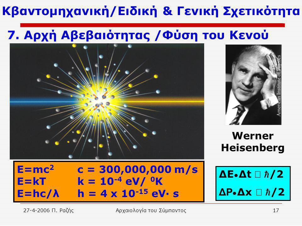 27-4-2006 Π. ΡαζήςΑρχαιολογία του Σύμπαντος17 ΔΕ • Δt   /2 ΔP • Δx   /2 E=mc 2 c = 300,000,000 m/s E=kT k = 10 -4 eV/ 0 K E=hc/λh = 4 x 10 -15 eV·