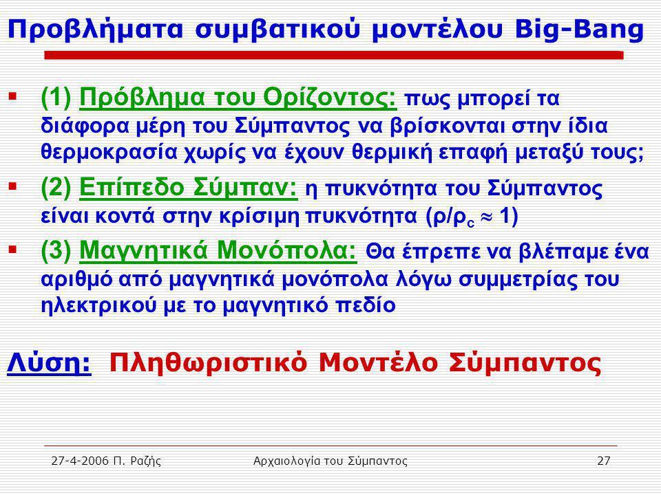 27-4-2006 Π. ΡαζήςΑρχαιολογία του Σύμπαντος27 Προβλήματα συμβατικού μοντέλου Big-Bang  (1) Πρόβλημα του Ορίζοντος: πως μπορεί τα διάφορα μέρη του Σύμ