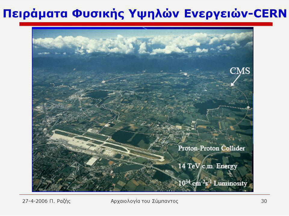 27-4-2006 Π. ΡαζήςΑρχαιολογία του Σύμπαντος30 Πειράματα Φυσικής Υψηλών Ενεργειών-CERN