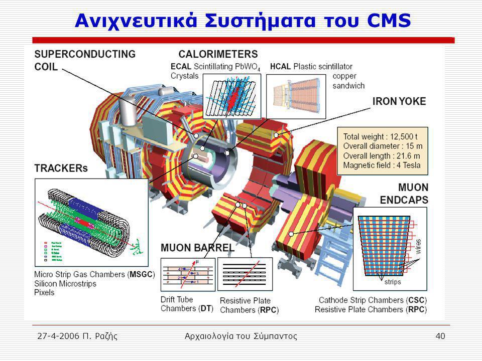 27-4-2006 Π. ΡαζήςΑρχαιολογία του Σύμπαντος40 Ανιχνευτικά Συστήματα του CMS