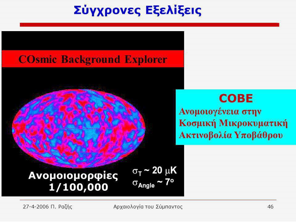 27-4-2006 Π. ΡαζήςΑρχαιολογία του Σύμπαντος46 Σύγχρονες Εξελίξεις COsmic Background Explorer Ανομοιομορφίες 1/100,000 COBE Ανομοιογένεια στην Κοσμική