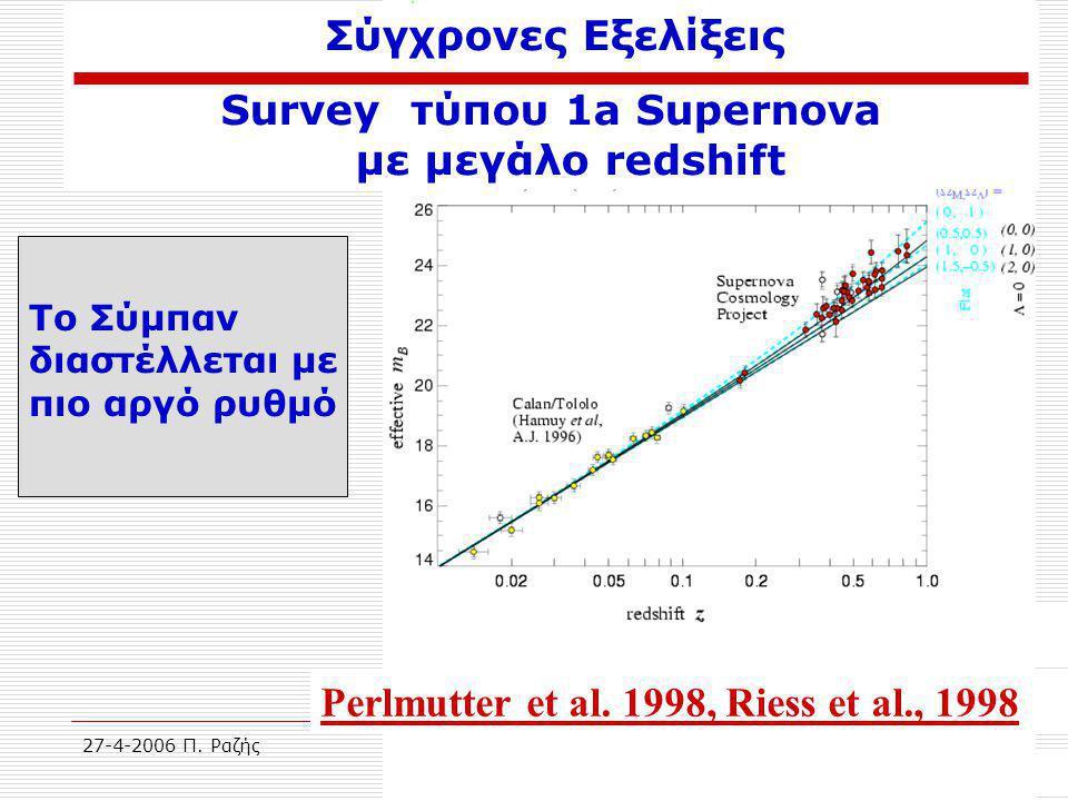 27-4-2006 Π. ΡαζήςΑρχαιολογία του Σύμπαντος50 Σύγχρονες Εξελίξεις Survey τύπου 1a Supernova με μεγάλο redshift Perlmutter et al. 1998, Riess et al., 1