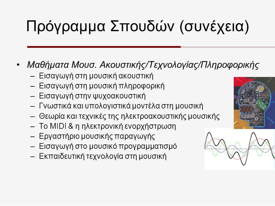 Πρόγραμμα Σπουδών (συνέχεια) Σύνθεση (κατεύθυνση) –Σύνθεση (8 εξάμηνα) –Τεχνικές Σύνθεσης του 20 ου αιώνα –Μουσική Υφή/Θεωρητικά της Μουσικής –Ενορχήστρωση –Εκτέλεση Παρτιτούρας στο Πιάνο –Ηλεκτρονική Μουσική