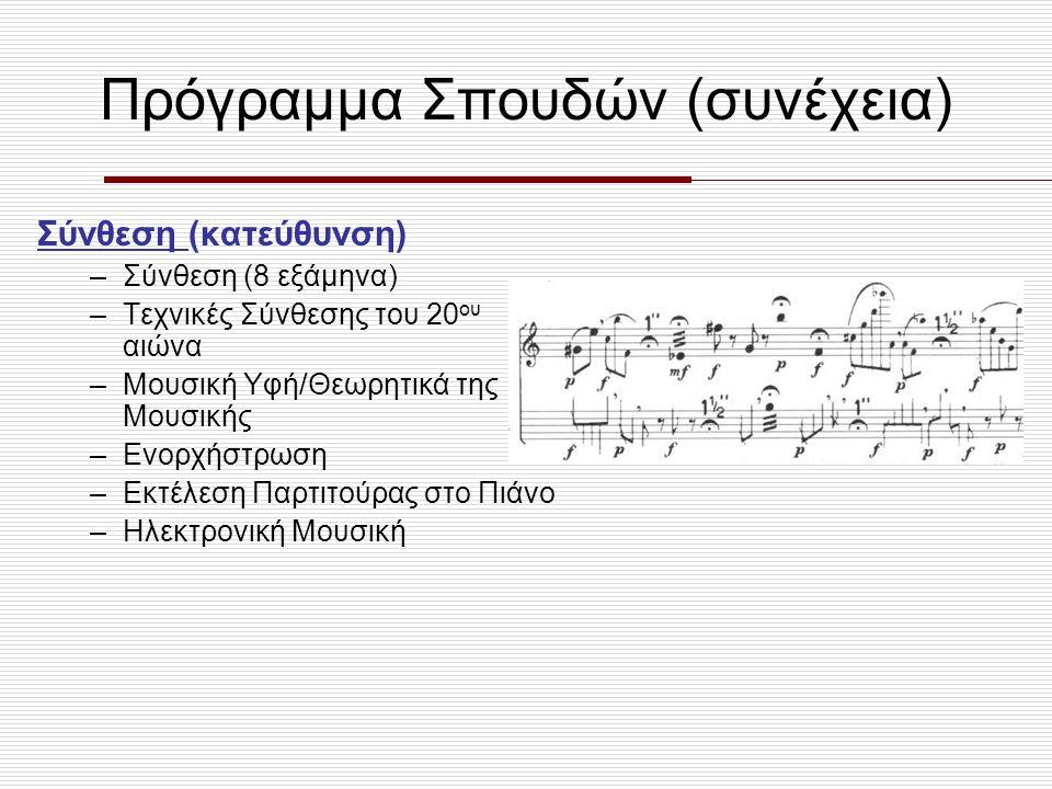 Εισαγωγικές Εξετάσεις Πανελλαδικές εξετάσεις Δύο ειδικά μαθήματα: •Αρμονία (εναρμόνιση μελωδίας) •Έλεγχος μουσικών ακουστικών ικανοτήτων (αναγνώριση διαστημάτων, κλιμάκων, ρυθμών, μελωδιών, κλπ.)