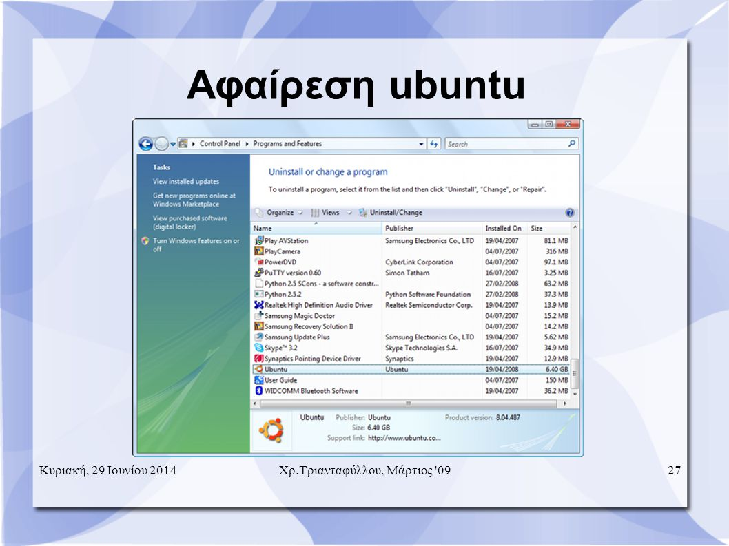 Αφαίρεση ubuntu Κυριακή, 29 Ιουνίου 201427 Χρ.Τριανταφύλλου, Μάρτιος 09
