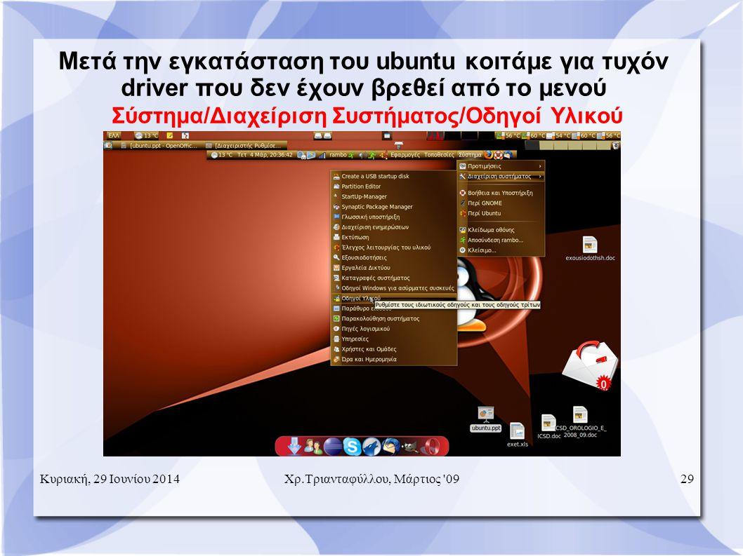Μετά την εγκατάσταση του ubuntu κοιτάμε για τυχόν driver που δεν έχουν βρεθεί από το μενού Σύστημα/Διαχείριση Συστήματος/Οδηγοί Υλικού Κυριακή, 29 Ιουνίου 201429Χρ.Τριανταφύλλου, Μάρτιος 09