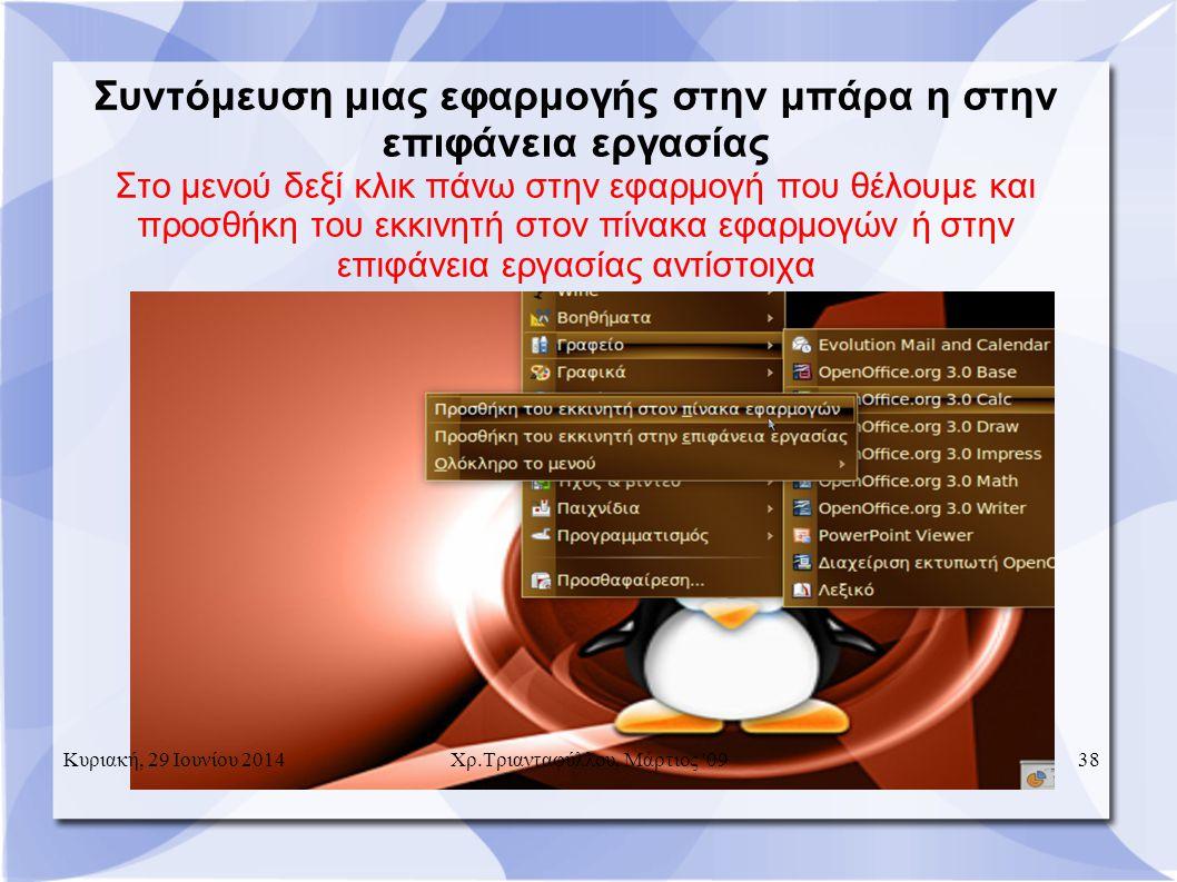 Συντόμευση μιας εφαρμογής στην μπάρα η στην επιφάνεια εργασίας Στο μενού δεξί κλικ πάνω στην εφαρμογή που θέλουμε και προσθήκη του εκκινητή στον πίνακα εφαρμογών ή στην επιφάνεια εργασίας αντίστοιχα Κυριακή, 29 Ιουνίου 201438 Χρ.Τριανταφύλλου, Μάρτιος 09