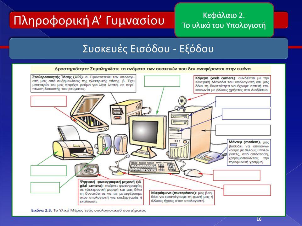 Πληροφορική Α' Γυμνασίου Κεφάλαιο 2. Το υλικό του Υπολογιστή 16 Συσκευές Εισόδου - Εξόδου