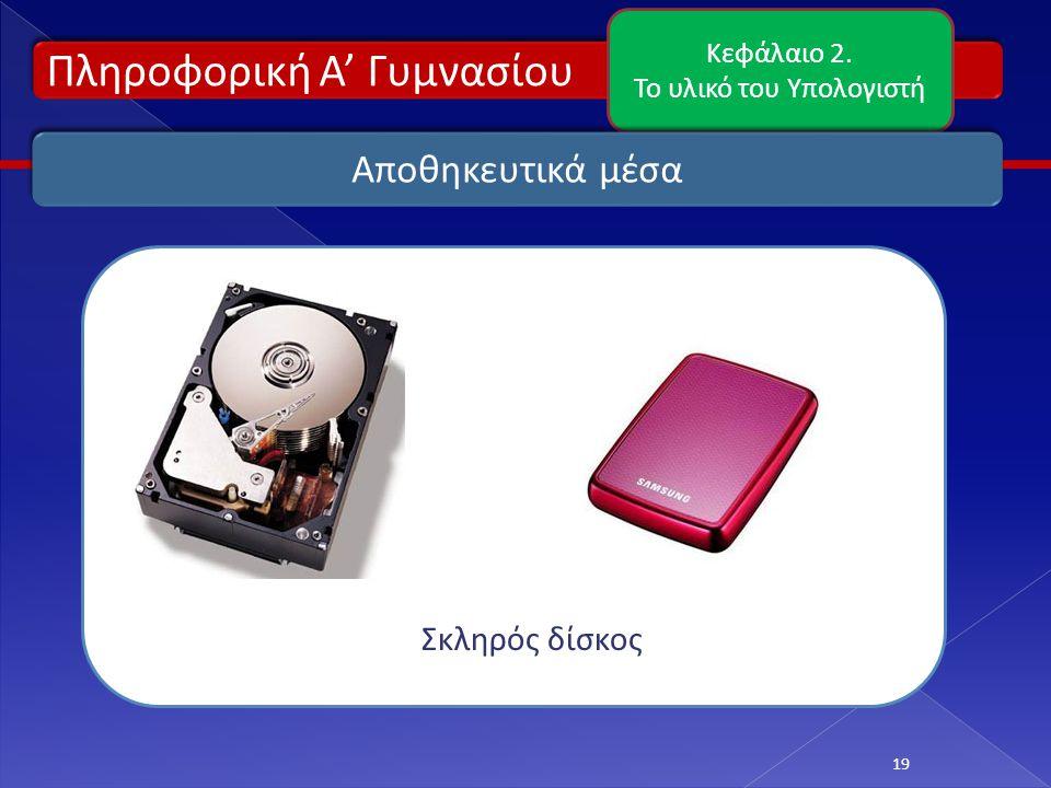 Πληροφορική Α' Γυμνασίου Κεφάλαιο 2. Το υλικό του Υπολογιστή 19 Αποθηκευτικά μέσα Σκληρός δίσκος