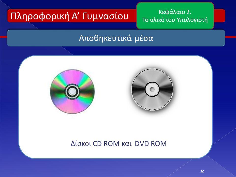 Πληροφορική Α' Γυμνασίου Κεφάλαιο 2. Το υλικό του Υπολογιστή 20 Αποθηκευτικά μέσα Δίσκοι CD ROM και DVD ROM