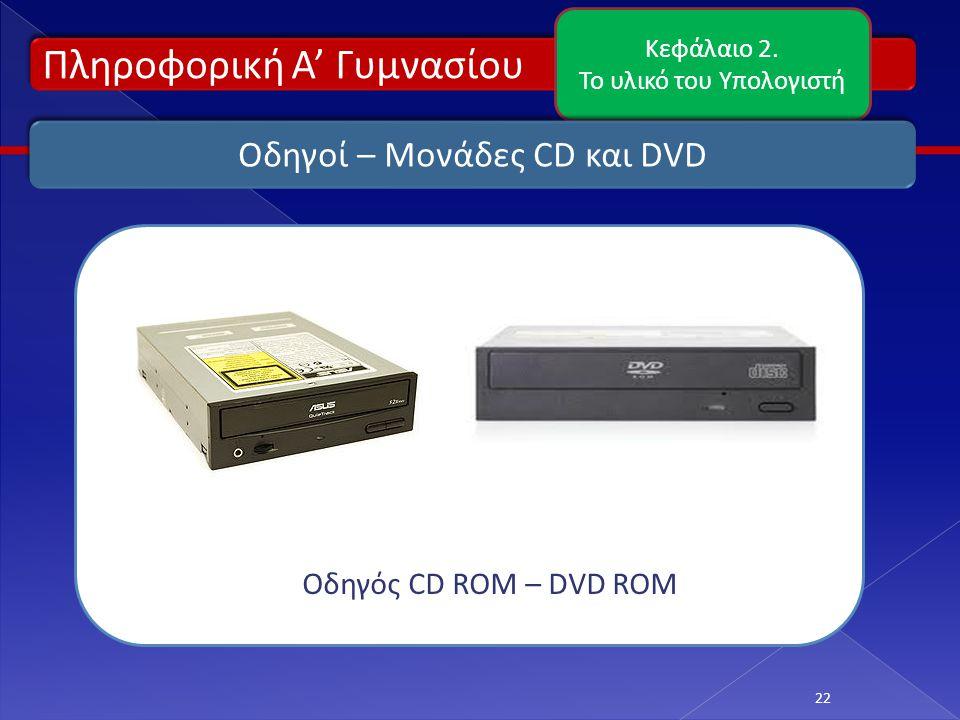Πληροφορική Α' Γυμνασίου Κεφάλαιο 2. Το υλικό του Υπολογιστή 22 Οδηγοί – Μονάδες CD και DVD Οδηγός CD ROM – DVD ROM
