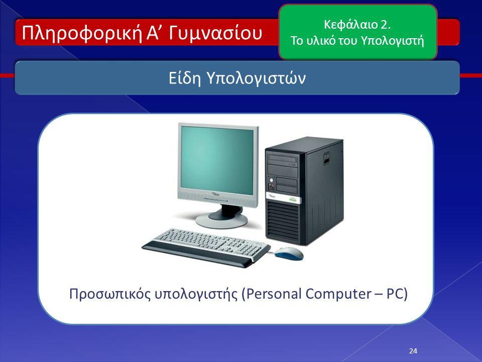 Πληροφορική Α' Γυμνασίου Κεφάλαιο 2. Το υλικό του Υπολογιστή 24 Είδη Υπολογιστών Προσωπικός υπολογιστής (Personal Computer – PC)