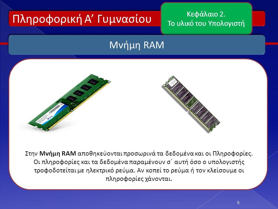 Πληροφορική Α' Γυμνασίου Κεφάλαιο 2. Το υλικό του Υπολογιστή 5 Μνήμη RAM Στην Μνήμη RAM αποθηκεύονται προσωρινά τα δεδομένα και οι Πληροφορίες. Οι πλη