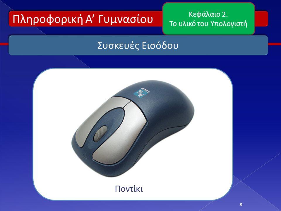 Πληροφορική Α' Γυμνασίου Κεφάλαιο 2. Το υλικό του Υπολογιστή 8 Συσκευές Εισόδου Ποντίκι
