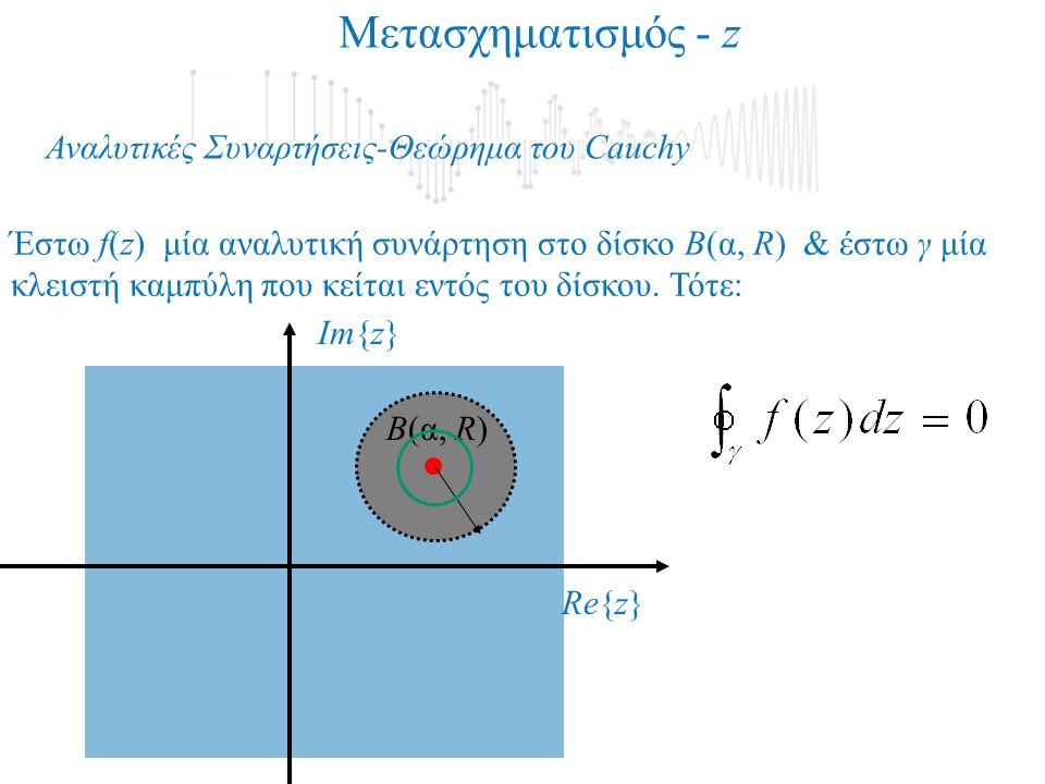 Αναλυτικές Συναρτήσεις-Θεώρημα του Cauchy Μετασχηματισμός - z Έστω f(z) μία αναλυτική συνάρτηση στο δίσκο Β(α, R) & έστω γ μία κλειστή καμπύλη που κείται εντός του δίσκου.