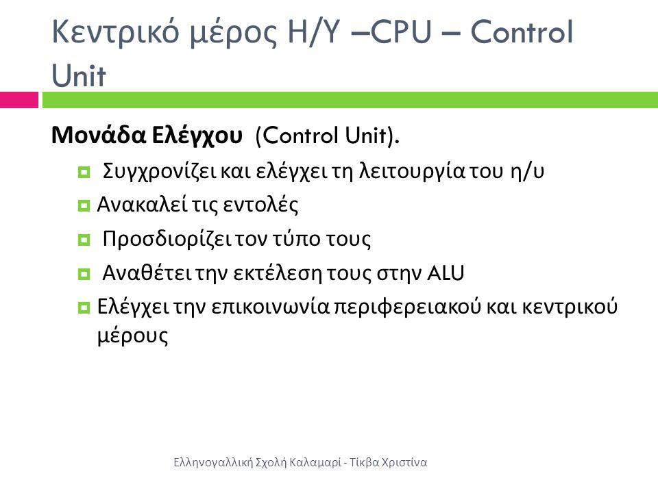 Κεντρικό μέρος Η / Υ –CPU – Control Unit Μονάδα Ελέγχου (Control Unit).
