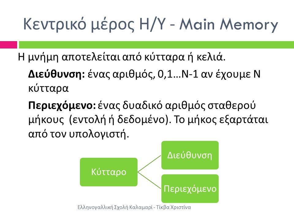 Κεντρικό μέρος Η / Υ - Main Memory Η μνήμη αποτελείται από κύτταρα ή κελιά.