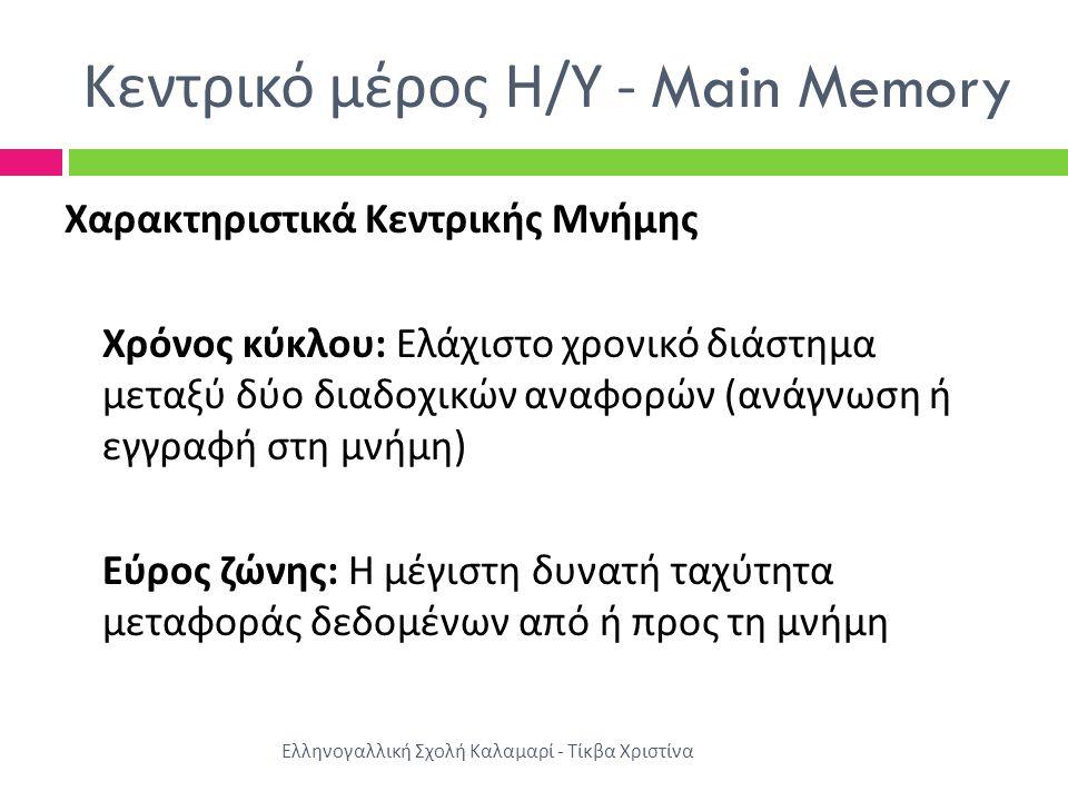 Κεντρικό μέρος Η / Υ - Main Memory Χαρακτηριστικά Κεντρικής Μνήμης Χρόνος κύκλου : Ελάχιστο χρονικό διάστημα μεταξύ δύο διαδοχικών αναφορών ( ανάγνωση ή εγγραφή στη μνήμη ) Εύρος ζώνης : Η μέγιστη δυνατή ταχύτητα μεταφοράς δεδομένων από ή προς τη μνήμη Ελληνογαλλική Σχολή Καλαμαρί - Τίκβα Χριστίνα
