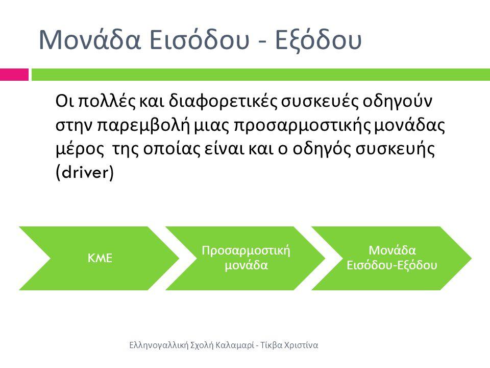 Μονάδα Εισόδου - Εξόδου Οι πολλές και διαφορετικές συσκευές οδηγούν στην παρεμβολή μιας προσαρμοστικής μονάδας μέρος της οποίας είναι και ο οδηγός συσκευής (driver) KME Προσαρμοστική μονάδα Μονάδα Εισόδου - Εξόδου Ελληνογαλλική Σχολή Καλαμαρί - Τίκβα Χριστίνα