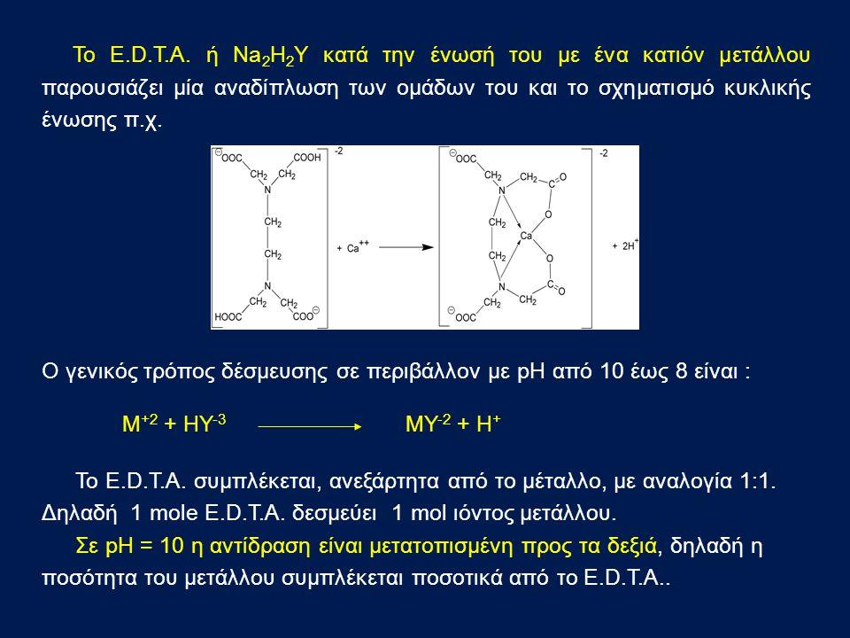 Ο γενικός τρόπος δέσμευσης σε περιβάλλον με pH από 10 έως 8 είναι : M +2 + HY -3 MY -2 + H + Το E.D.T.A.