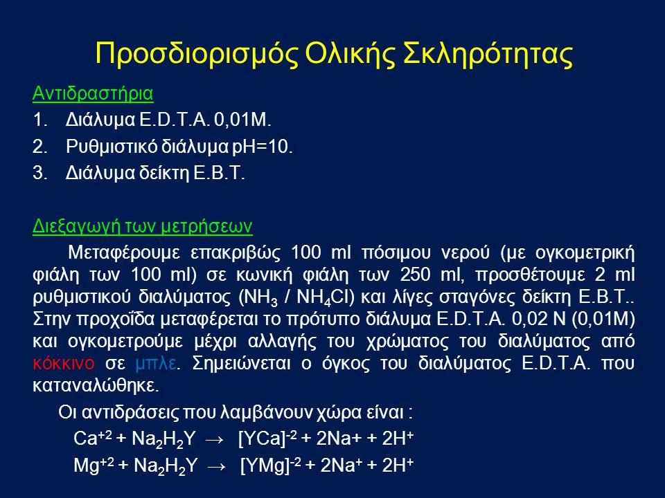 Αντιδραστήρια 1.Διάλυμα E.D.T.A.0,01M. 2.Ρυθμιστικό διάλυμα pH=10.