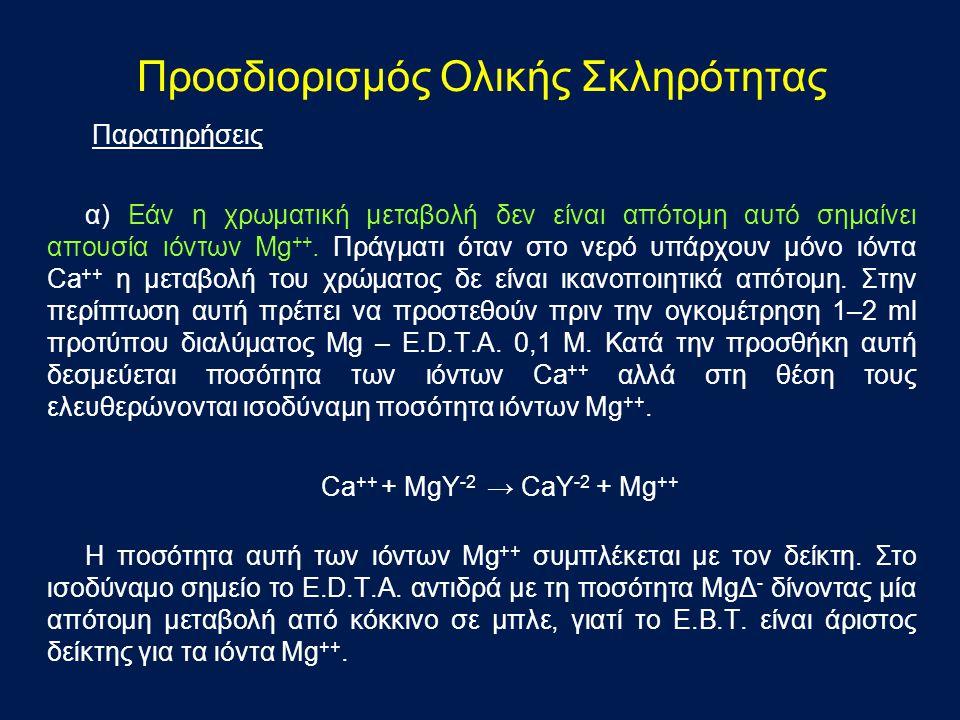 Παρατηρήσεις α) Εάν η χρωματική μεταβολή δεν είναι απότομη αυτό σημαίνει απουσία ιόντων Mg ++.