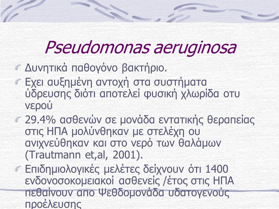 Pseudomonas aeruginosa Δυνητικά παθογόνο βακτήριο. Εχει αυξημένη αντοχή στα συστήματα ύδρευσης διότι αποτελεί φυσική χλωρίδα οτυ νερού 29.4% ασθενών σ
