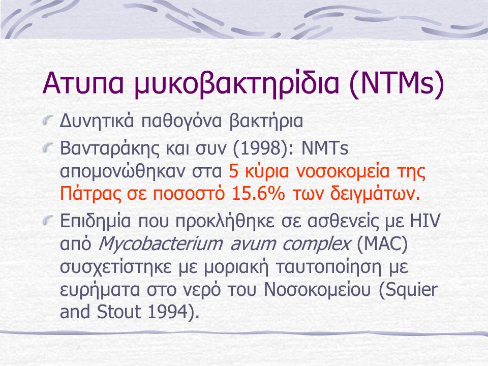 Ατυπα μυκοβακτηρίδια (NTMs) Δυνητικά παθογόνα βακτήρια Bανταράκης και συν (1998): ΝΜΤs απομονώθηκαν στα 5 κύρια νοσοκομεία της Πάτρας σε ποσοστό 15.6% των δειγμάτων.