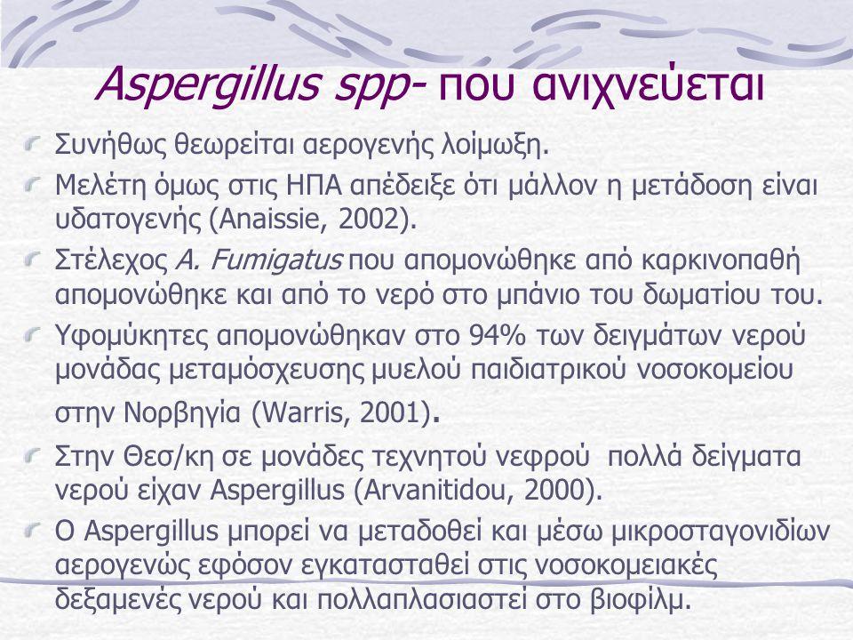 Αspergillus spp- που ανιχνεύεται Συνήθως θεωρείται αερογενής λοίμωξη. Μελέτη όμως στις ΗΠΑ απέδειξε ότι μάλλον η μετάδοση είναι υδατογενής (Anaissie,