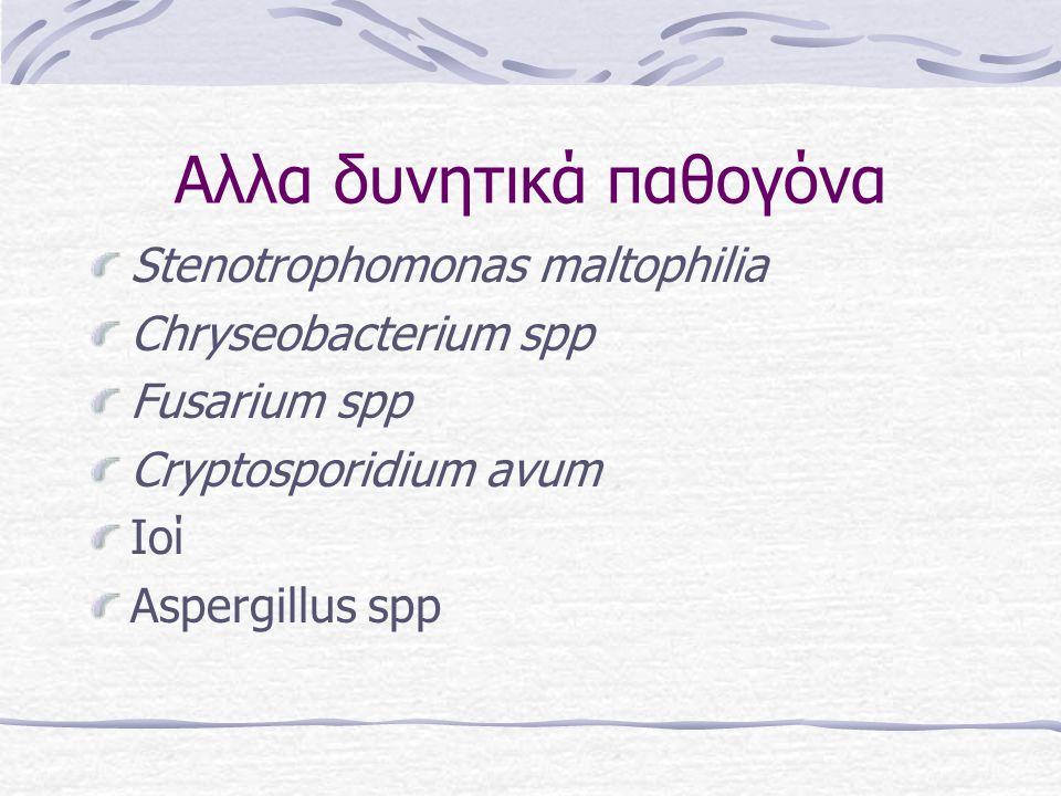 Aλλα δυνητικά παθογόνα Stenotrophomonas maltophilia Chryseobacterium spp Fusarium spp Cryptosporidium avum Ioί Αspergillus spp
